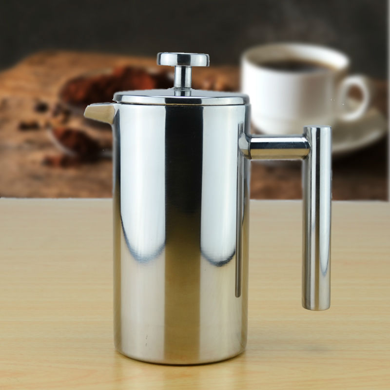 Double wall Stainless Steel Coffee Plunger French Press Tea Maker Cafetiere Permanent Coffee Filter Baskets Espresso Maker(China (Mainland))