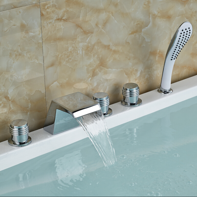 Фотография Contemporary Chrome Finish 5pcs Bathtub Faucet Waterfall Spout Mixer Tap with Hand Shower Deck Mount 5 Holes