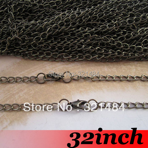 Free Ship! 100piece 3x5mm 32 Antique bronze Curb Metal Link Chain Necklace with Lobster Clasp Findings For Pendant Jewelry<br><br>Aliexpress