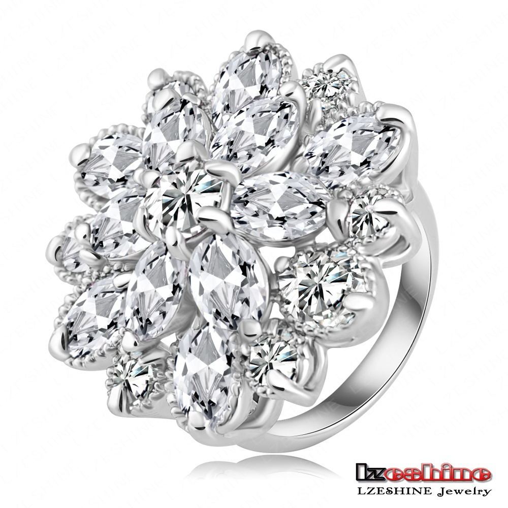 Flower Shape Engagement Ring Platinum Plated AAA Cubic Zircon Rings