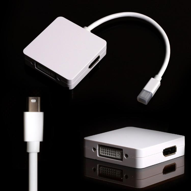 3 in 1 Mini DisplayPort/Thunderbolt to DVI HDMI DP Adapter for Apple Mac Pro PC(China (Mainland))