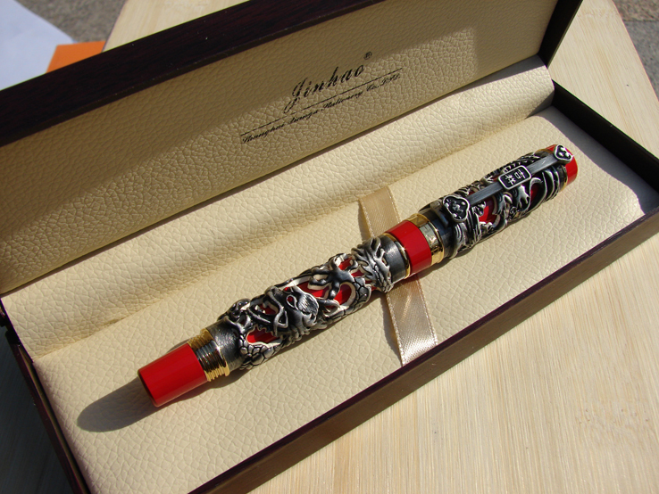 Jinhao Dragon Phoenix Heavy Roller Pen Gray Red Chinese Luck Clip Gift Box <br><br>Aliexpress