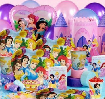 12Kids FreeShipping Birthday Decor Princess Theme Paper Cup Paper Plate Paper Hat Straw Blow Pipes Candle Themes Party Suppliers