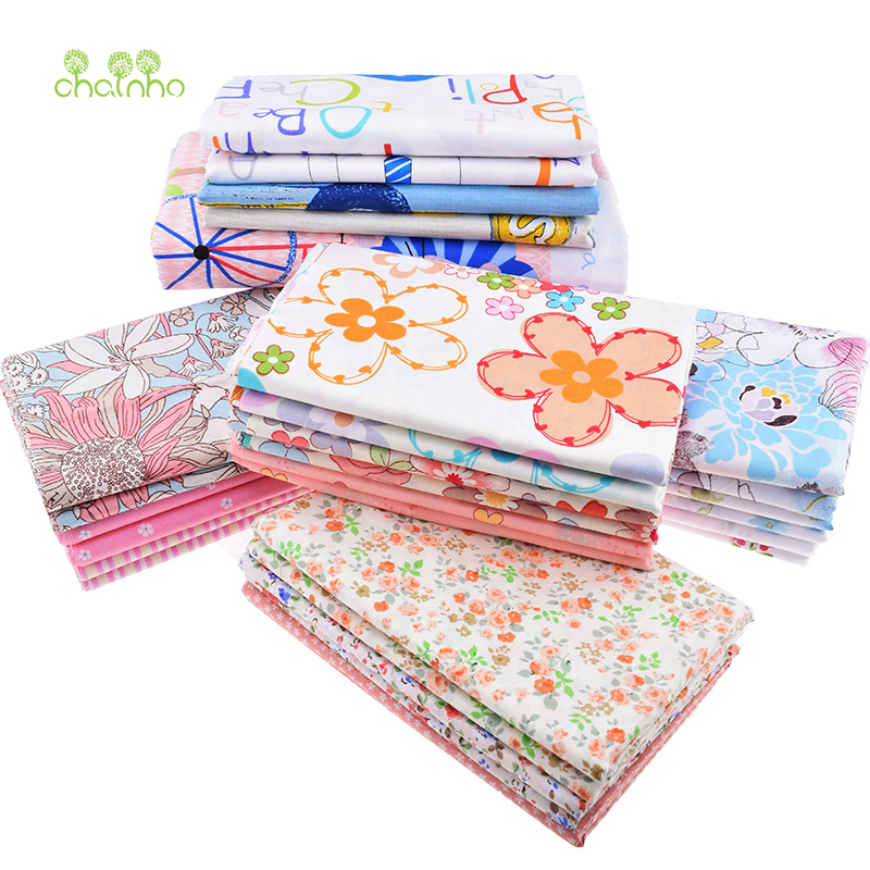 Printed Twill Cotton Fabric For Sewing Quilting Floral&Cartoon Tissue Baby Bed Sheets Children Dress Skirt Material 40x50 3pcs(China (Mainland))