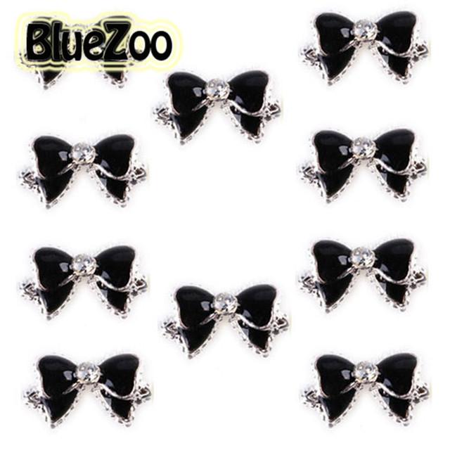 BlueZoo 10pcs Black 3d Alloy Bow Tie Nail Rhinestones Decorations Nail Art DIY Decoration Glitters Slices Beauty Nail Stud Tips
