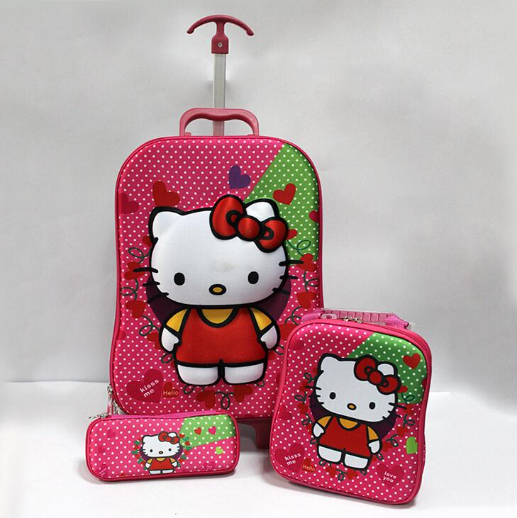 Lovely children school bag hello kitty burdens trolley bags girls cartoon cute luggage three-piece waterproof &88300 - Friday's Store store