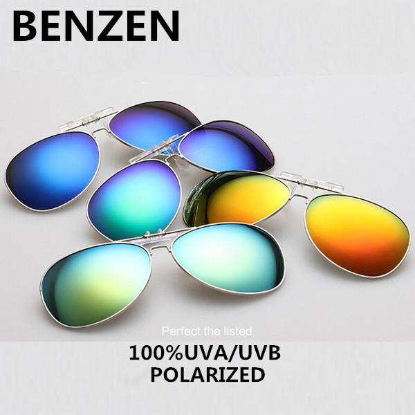 2015 Clip On Sunglasses Polarized Aviator Coating Myopia Clip Sun Glasses 9 Color Night Vision Driving Glasses With Case 9074