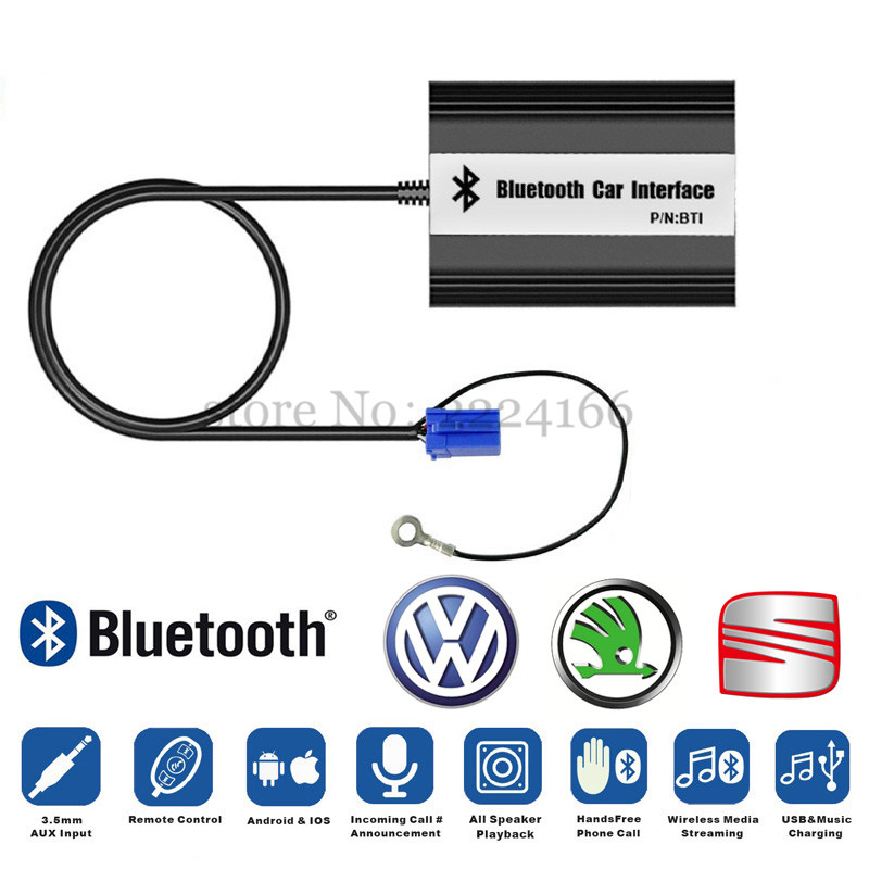 Car Bluetooth A2DP Adapter for VW Skoda Seat 8Pin 12Pin Plug Interface quality sound MP3 music Players USB charging car-styling(China (Mainland))