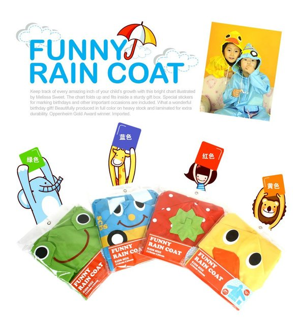 rain coat children poncho,kids animal model  raincoat,polyester cute rain coat with bag,ratail free shipping