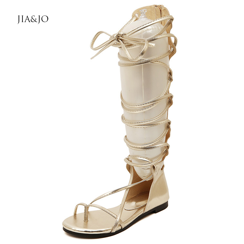 Size 35-39 Womens Flat Knee High Gladiator Sandals Flip Flops Summer Leather Lace Shoes Black Gold MZ016 - New Fashion store