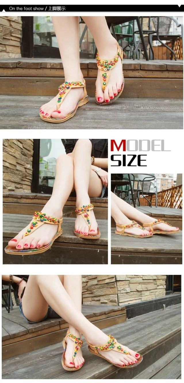 2016 Summer Bohemia Flat Beach Sandals National Wind Beading Flip Flop Women Sandal Slippers Diamond Student Shoes NX80