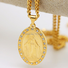 Men's Holy Mother Maria Necklace /Top Grade Hip Hop Accessories Fashion Men's 24K Gold Pendant Metal With Rhinestone Necklace(China (Mainland))