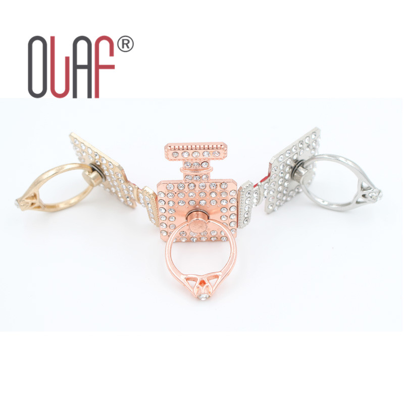 New 2015 luxury perfume bottle Bling Diamond ring Holder Universal Mobile phone & tablets Metal Finger Grip phone Stand hot sale(China (Mainland))