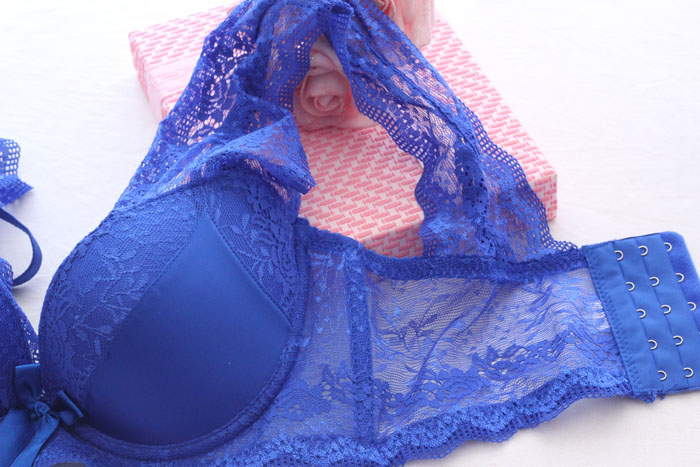 free shipping 2015 new design lace cover sexy women underwear bra set blue red color in