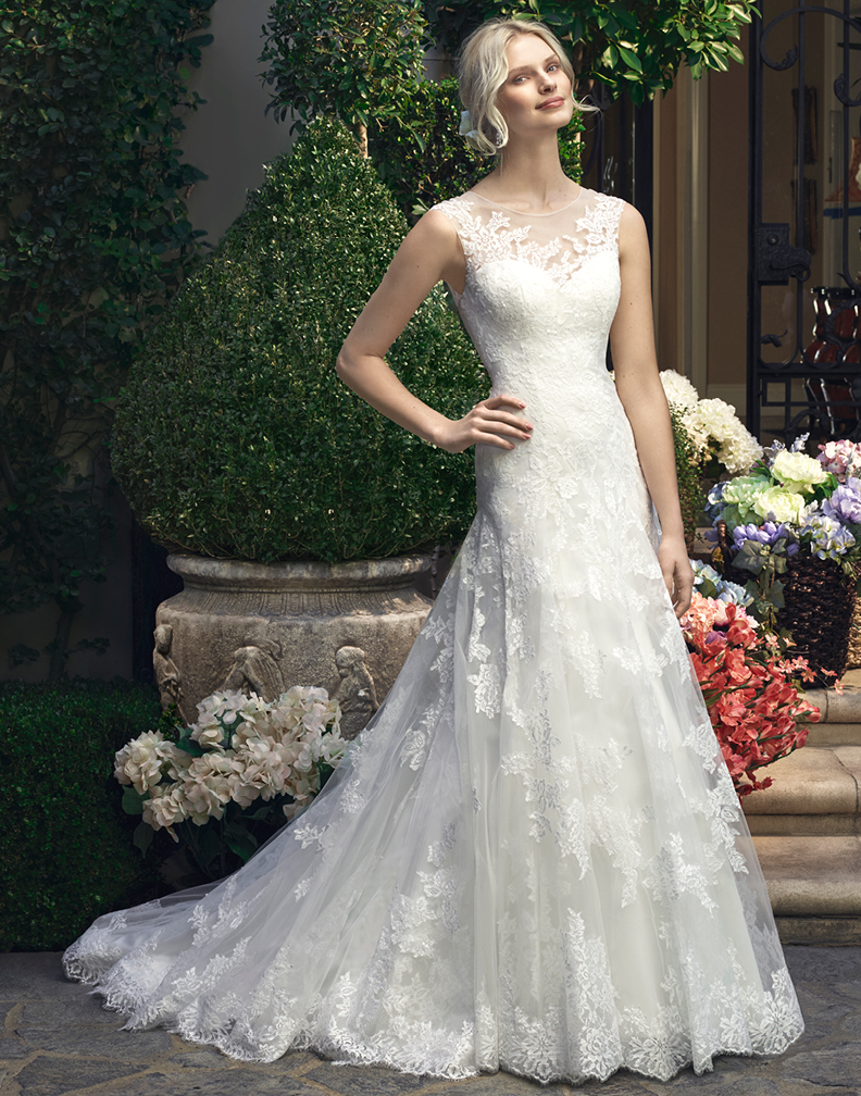 imh181 e marry a line lace tulle scoop sleeveless lace With casablanca a line wedding dress