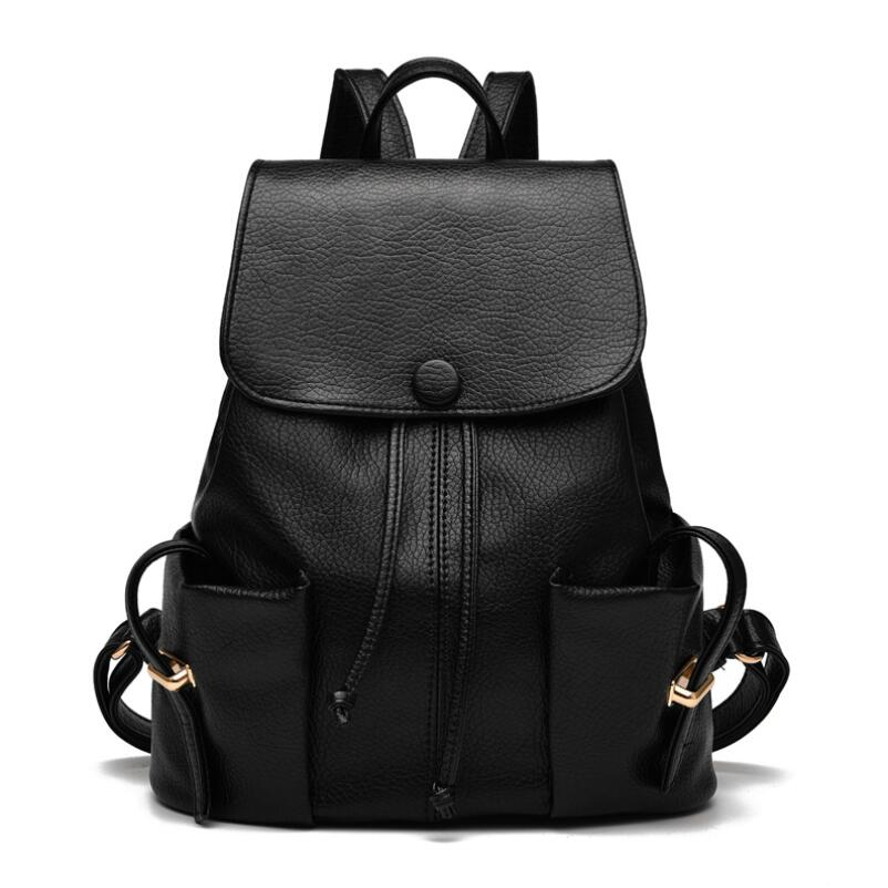Hot 2016 fashion black PU women leather backpack school bag female travel bags faux leather vintage daily backpacks casual(China (Mainland))