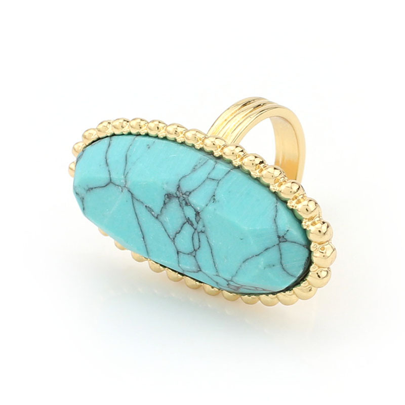 New Fashion Turquoise Rings Classic Geometric Natural Turquoise Gold Plated Trendy Rings for women jewelry(China (Mainland))