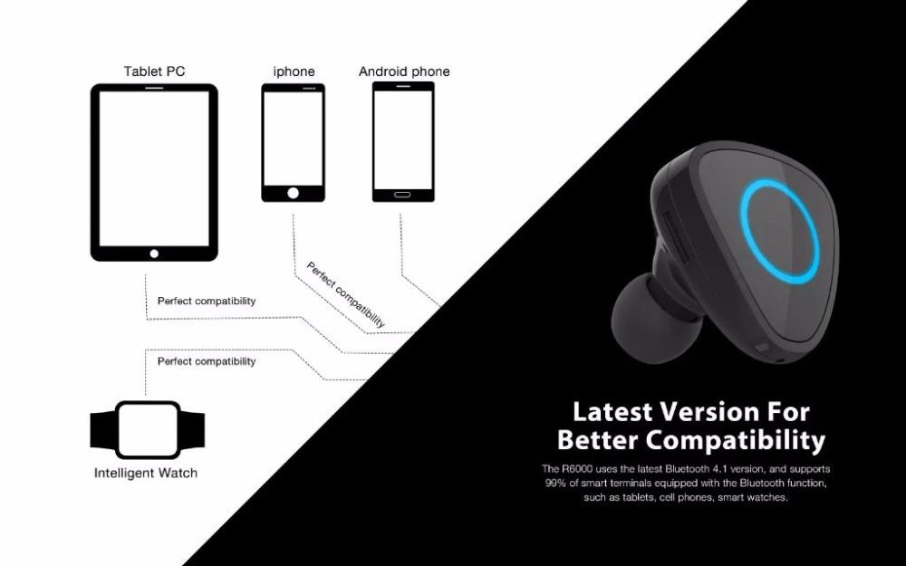 R6000 Mini Stereo Car Bluetooth headset Wireless earphone bluetooth handsfree car kit headphone with base Charging Dock