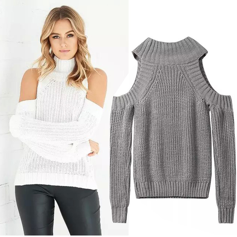 5 colors choose Turtleneck off shoulder knitted sweater women autumn tricot pullover jumpers Pull femme oversized capes WS74(China (Mainland))