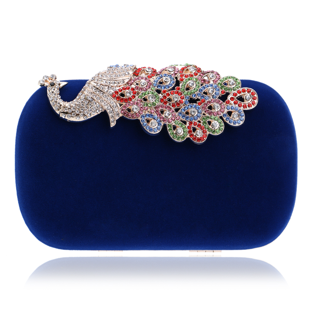 Candy color peacock design diamonds women bags velvet small purse holder bags rhinestones clutch evening bags for wedding(China (Mainland))