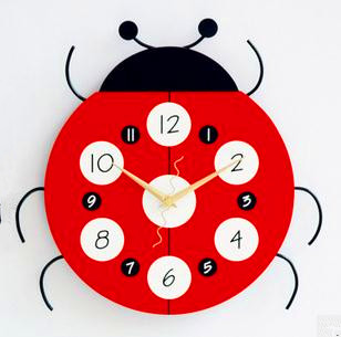 "Fashion home decor cartoon clock lovely beetle decorative clock silent wall clock child's room decoration home 12""(China (Mainland))"