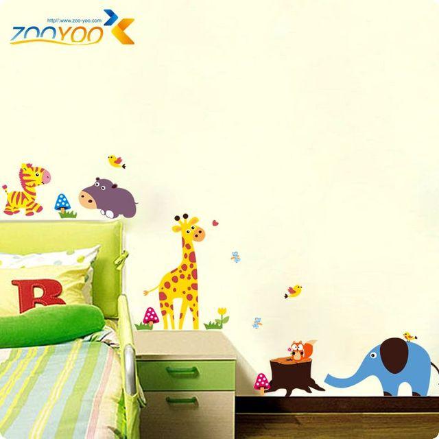Атака животные стены стикеры для детей номеров 1211 декоративные съемный пвх стены наклейка Nursey детская комната стене фреску