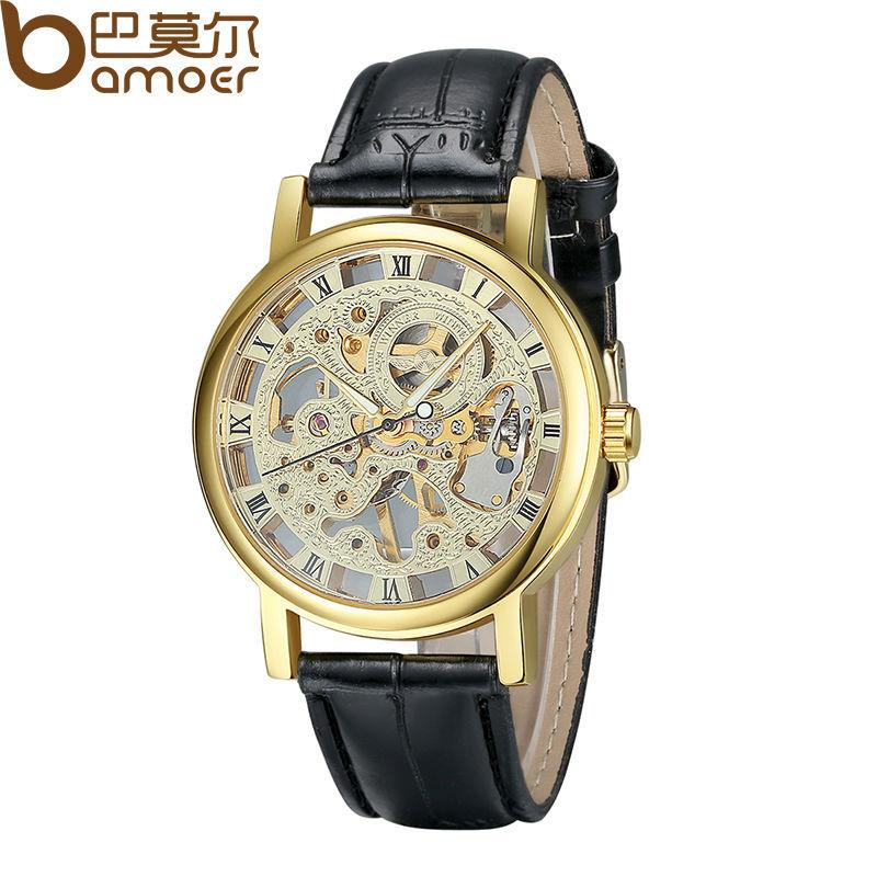 Кожа руководство механическая ручная заводка скелет часы для мужчины винтажный человек наручные часы WA1001