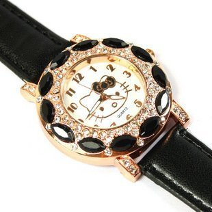 Free Shipping Leather Band Hello Kitty Watch, New Arrival Crystal Watch Fits For Child #KITTY010-bk(China (Mainland))