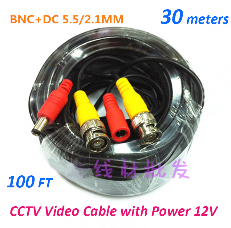 30m Cctv Cable Video Power Bnc Dc 100ft Cctv Camera Cable