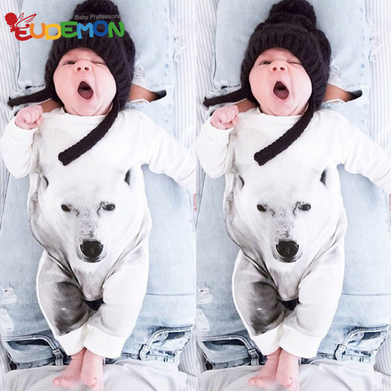 [Eudemon] Cotton baby clothes 2016 Summer baby boy clothes Cool Wolf Infant outwear White Long Sleeve Kids Toddler Clothing(China (Mainland))