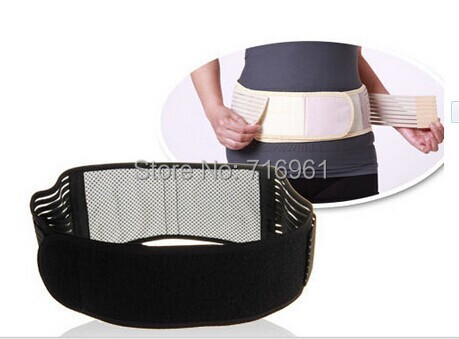 Freeshipping Tourmaline Magnetic Therapy Belt Lumbar Back Waist Support Brace Double Banded Adjustable Pad High Quality(China (Mainland))