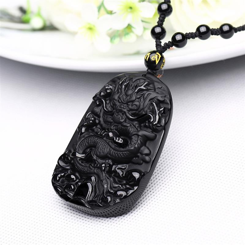 Natural Gold Obsidian Carved Guanyu Drop Pendant Necklace Amulet Lucky Maitreya Auspicious Necklace Jewelry Women Men