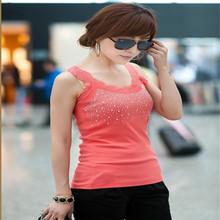 2016 New Fashion Women's T-Shirt Tank Hotselling Tops Sexy Vest Polka Dot Rhinestone Sleeveless KH657877(China (Mainland))