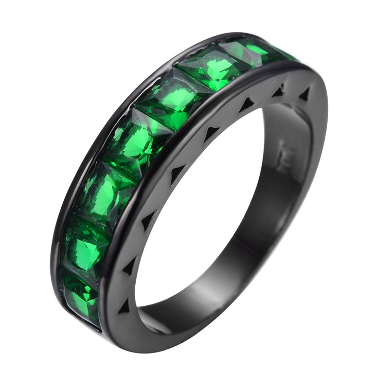 Vintage Hopeful Emerald Jewelry Green Zircon Wedding Ring Men Women Anel Aneis Fashion Black Gold Filled Engagement Rings RB0368(China (Mainland))