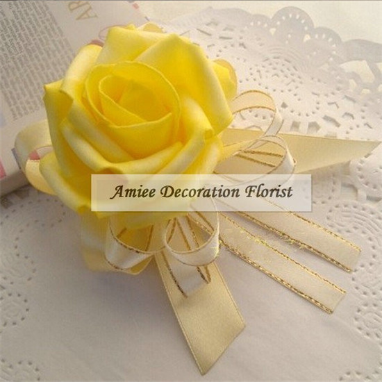 New Prom 2pcs Handmade Boutonniere PE Artificial Rose Wedding Church Decor Wrist Flower Corsage Bracelet Green Yellow F381(China (Mainland))