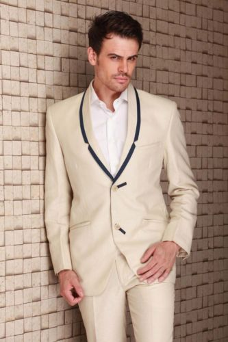 2015 Costom Made Beige Men 3 Piece Suits Jacket Mens Slim Suits Tuxedos Groom Wedding Suits Fprmal Party Suits