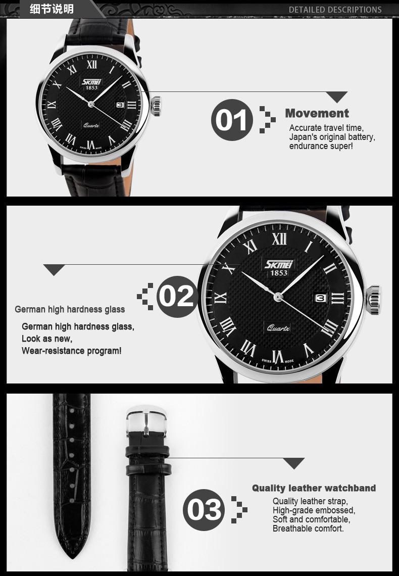 Новых любителей часы мода бизнес кварцевые часы водонепроницаемые кожаный ремешок свободного покроя наручные часы женщины календарных мужские часы