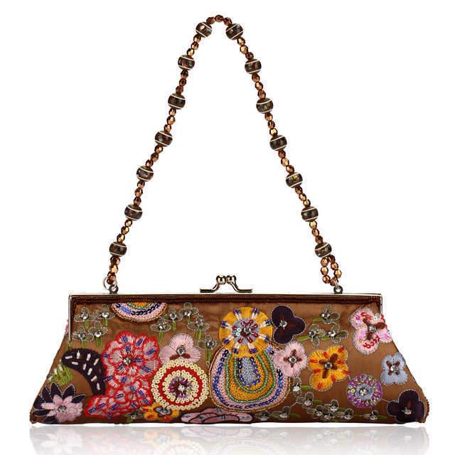 Free Shipping Vintage Beaded Handbag Beaded Bag Lady Dinner Handicraft Bag Korean Fashion Handbags Embroidered Evening Bags(China (Mainland))