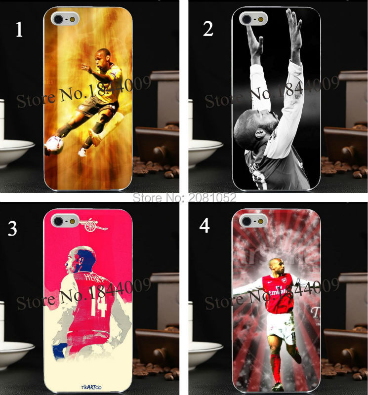 legend Arsenal Henry of Premier League football Hard Skin stealth Transparent Cover Case for iphone 5 5s 4 4S 5c 6 6s 6s plus(China (Mainland))