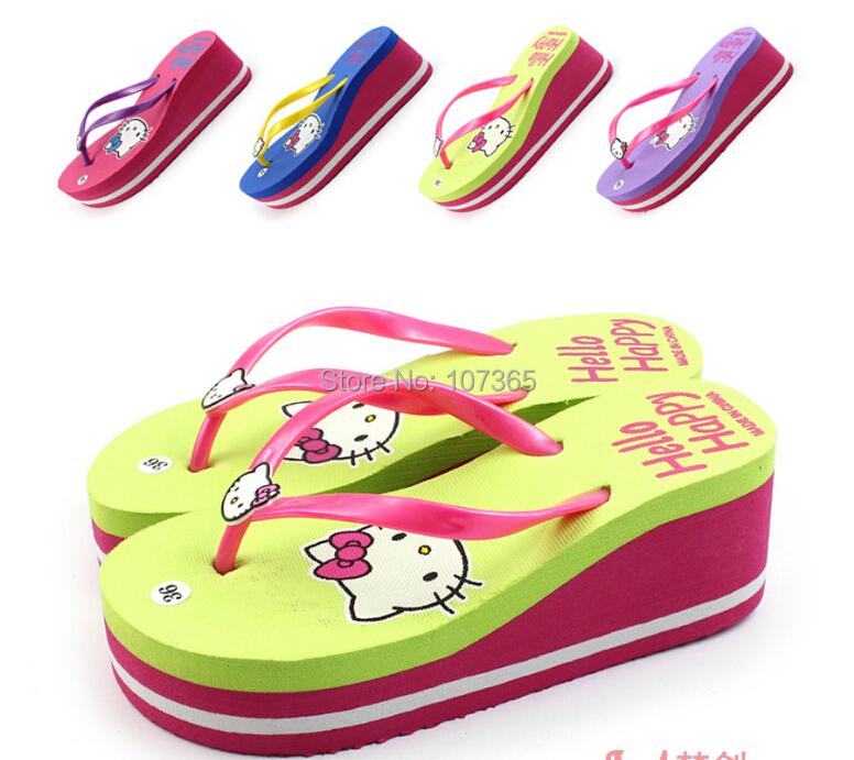 2015 Kitty summer cool bathroom high heel pantshoes slippers occupy home KT antiskid cute flip-flops - MM's Club store