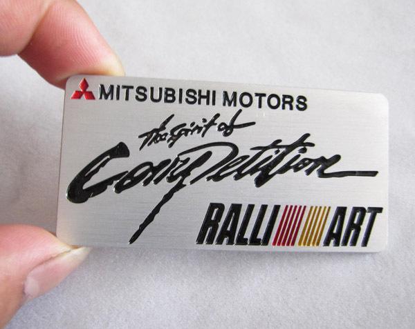 Aluminium Stickers Car Logo Auto Emblem Badge Mitsubishi Motors Ralliart RALLI-ART Decal(China (Mainland))