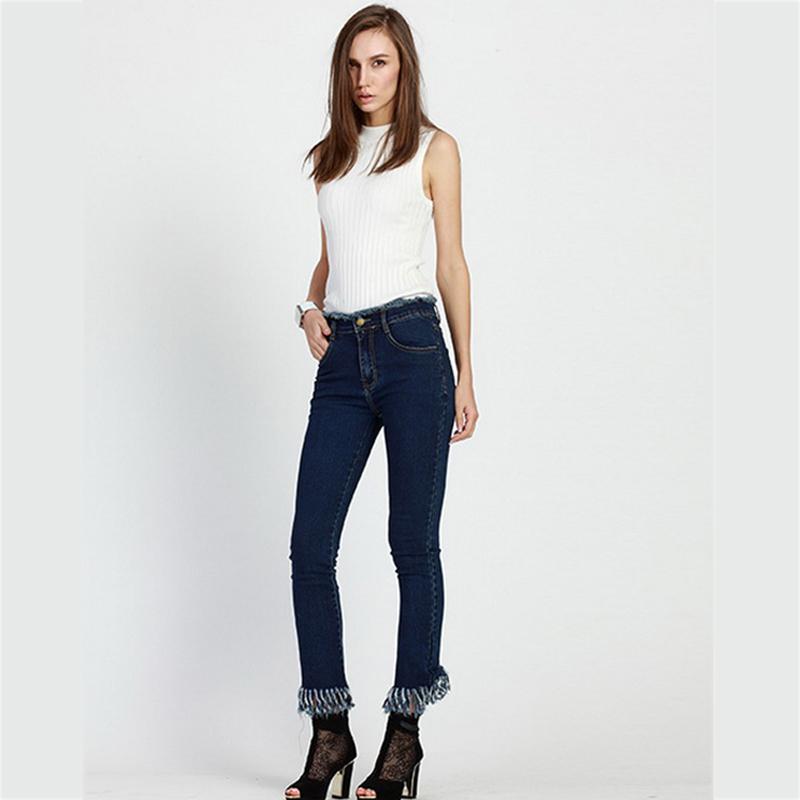 Nuevo Skinny Jeans Mujer pantalones Lápiz Pantalones de Cintura Alta Del Arco En Los Bolsillos Traseros de Adelgazamiento Pantalones Vaqueros Estilo Encuadre de cuerpo entero Jeans de Moda Femenina(China (Mainland))