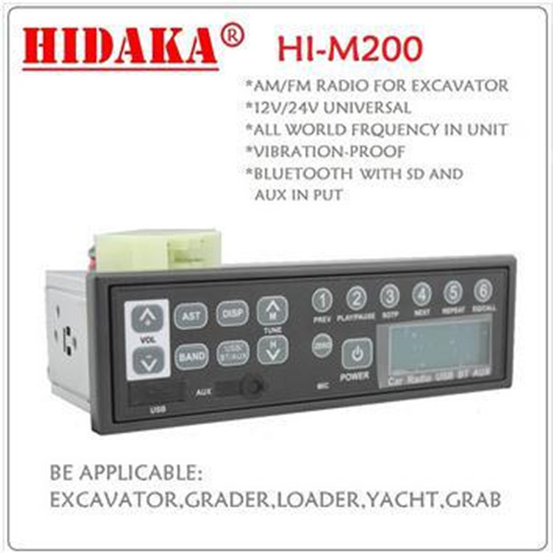 12V In-Dash 1 DIN Factory Radio Bluetooth USB AUX FM Radio MP3 Speaker Player Excavator Radio for Kobelco HITACHI Sumitomo(China (Mainland))