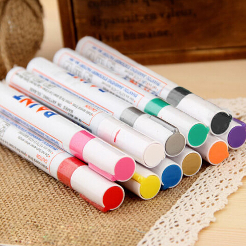 11 Colors DIY Car Styling Paint Marker Pens Oil-base Permanent Tyre Pens Gold Black Silver Red White(China (Mainland))