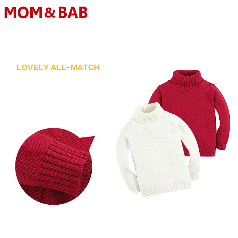 MOM AND BAB 2016 Baby Sweaters Baby Boy Girl Clothes Boys Girls Turtleneck Solid Sweater Kids Knitted Sweater Brand Baby Clothes(China (Mainland))