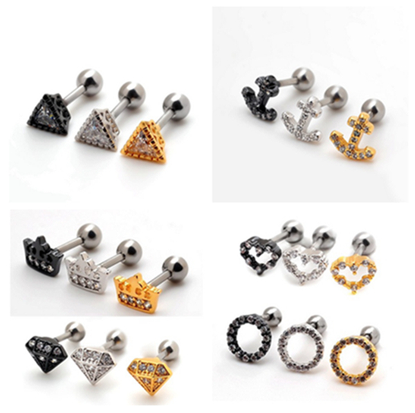 1PCS 2015 new stainless steel piercing Anchor Heart triangle Ear Cartilage jewelry punk earrings for women men Wholesale E031X(China (Mainland))