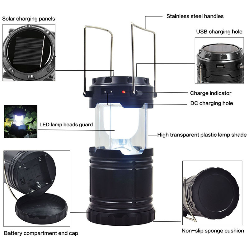 Ultra Bright Camping Lantern Solar Rechargeable LED Portable Light for Outdoor Recreation with USB Power Bank to Charge Phones