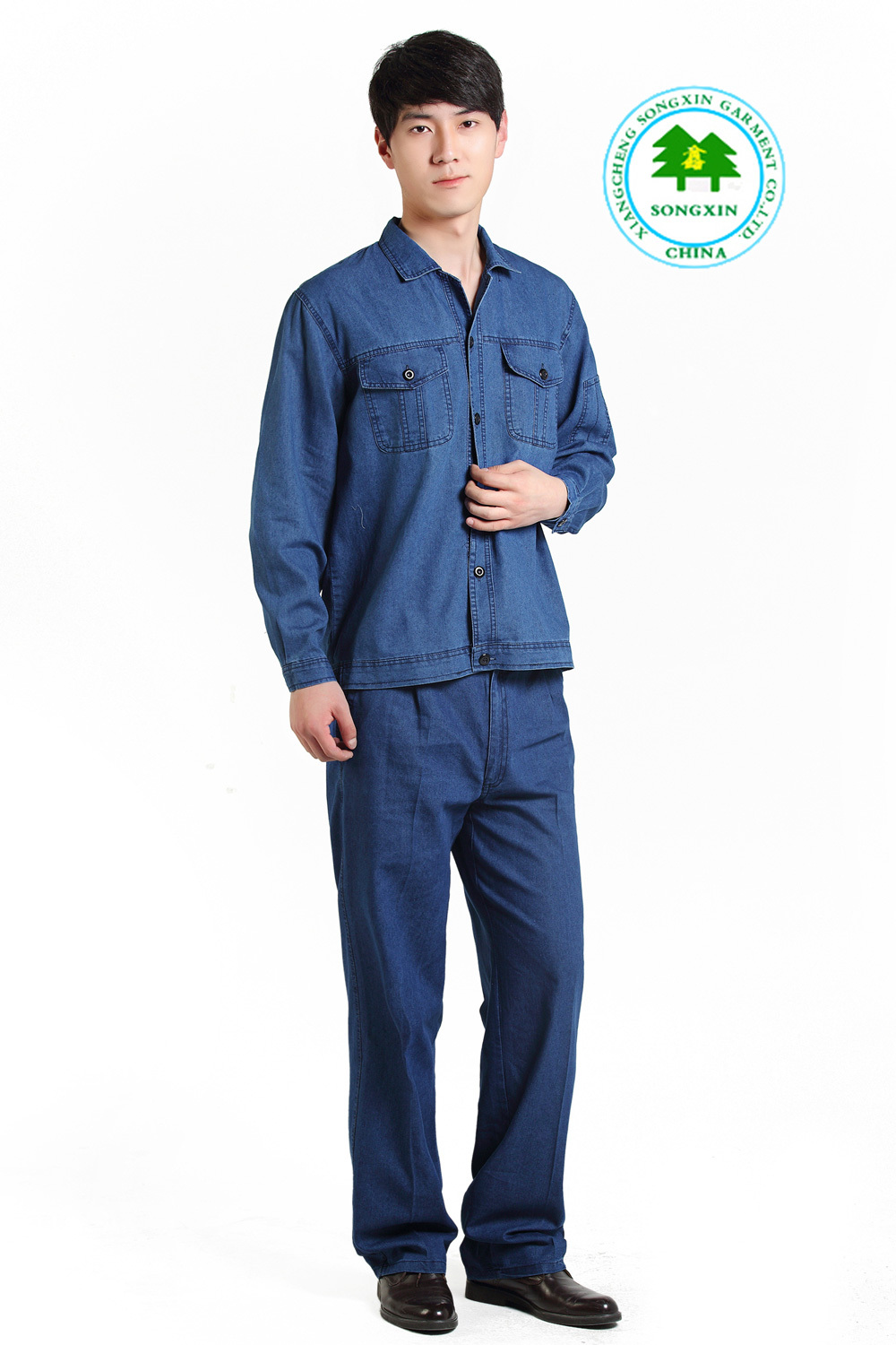 Free Shipping OEM work clothing protective clothing denim fabric work wear long sleeve factory direct sale(China (Mainland))