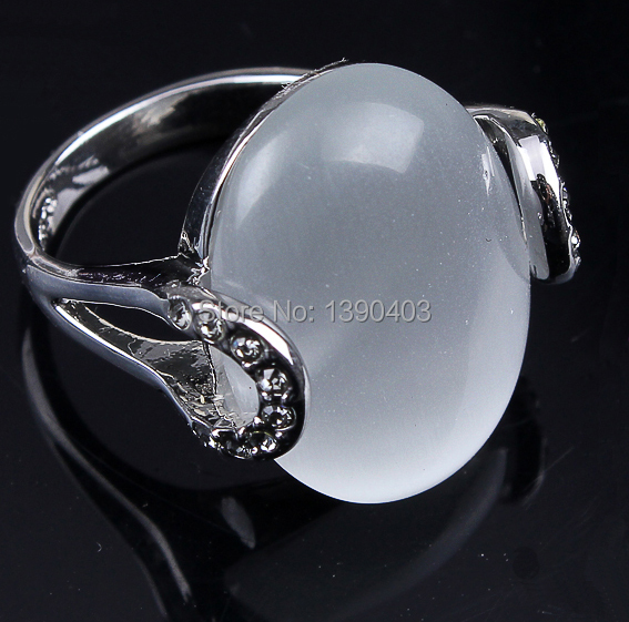 2015 Free shipping cat eye ring,high quality rhodium plating resist 1 year white opal rings for men jewelry(China (Mainland))