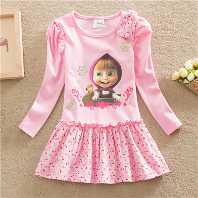 Kids Dresses For Girls 2016 masha and bear Printed New vestidos Pink Cotton Girls Clothes Princess Party Kids Clothing 2-7Y(China (Mainland))